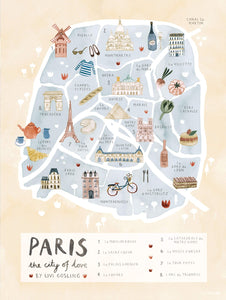 Paris map illustrated print - Livi Gosling - Mapsy