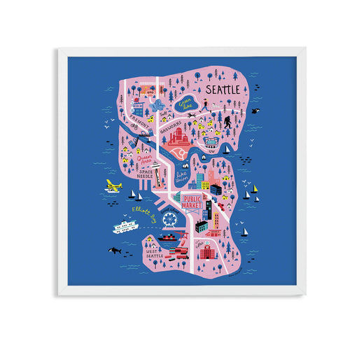 Seattle illustrated map - Jenna Piotrowski - Mapsy