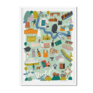 Sheffield map illustration print