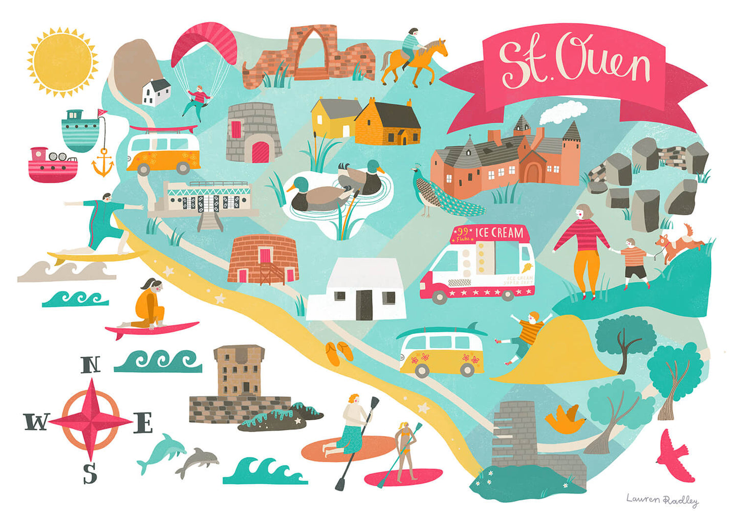 st ouen map illustration print