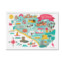 st ouen map illustration print framed