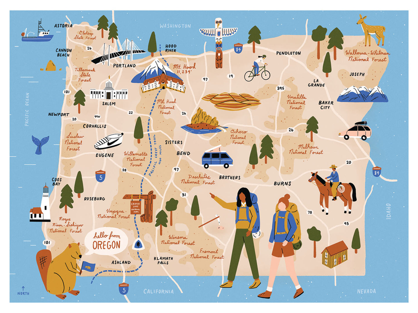 Oregon USA illustrated map print