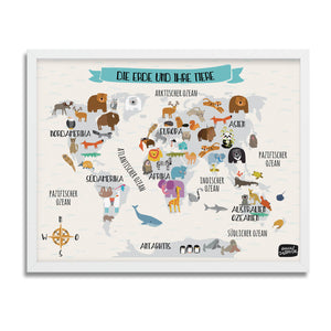 Animal World Map (German language) - Anna Zatorska
