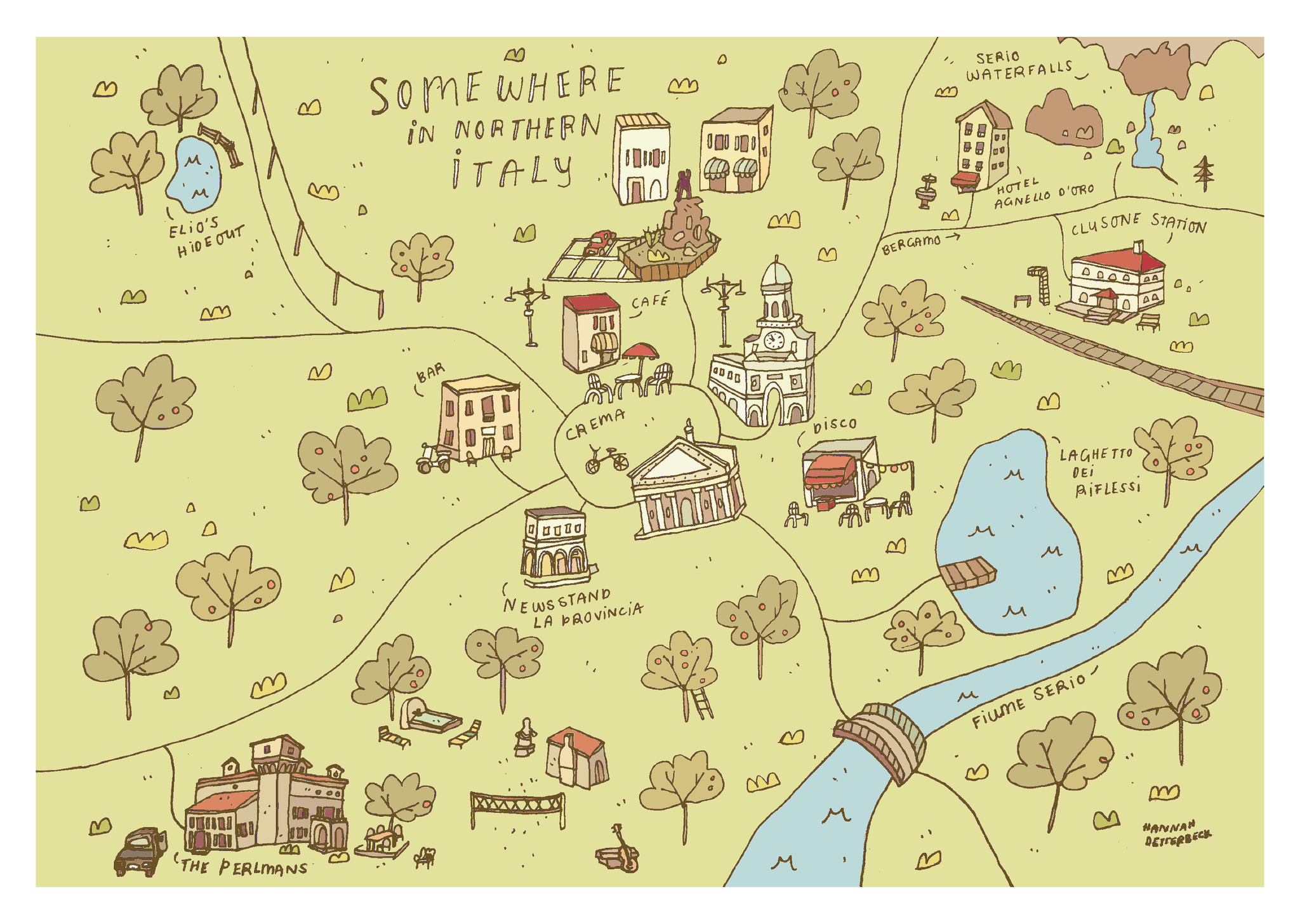 Somewhere in Northern Italy illustrated map - Hannah Detterbeck – Mapsy