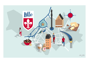 lille illustrated map print
