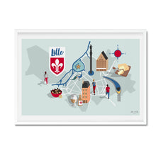 lille illustrated map print framed