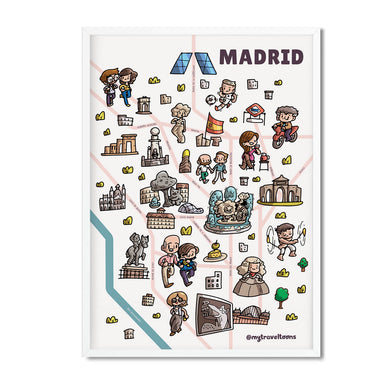 Madrid map illustrated print - Mytraveltoons
