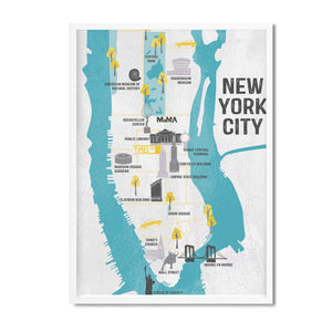New York map illustrated print - Mel Smith