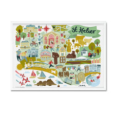 st helier map illustration print framed