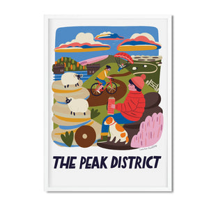 Peak district location art illustration print framed