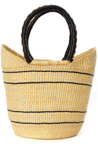 Natural Pinstripe Bolga Shopper with Leather Handles