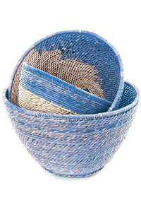 Set of Three Nesting Baskets (Blue & Natural)
