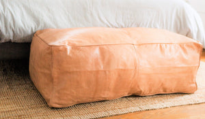 "Leather ""Pouf"" Bench"