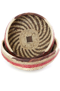 Pink and Natural Nesting Tonga Baskets