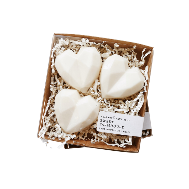 Gift set with three heart shaped soy wax melts.