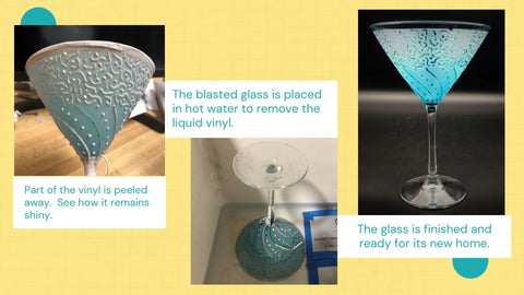 The Martini Glass is Sandblasted and Ready for its New Home It's A Blast Glass Gallery Tucson Arizona