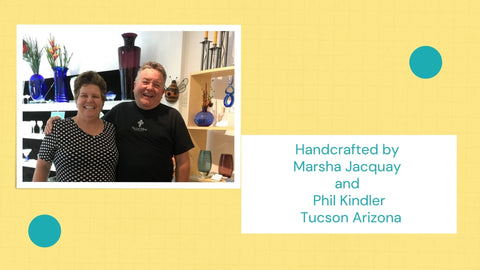 Picture of Marsha Jacquay and Phil Kindler at It's A Blast Glass Gallery Tucson Arizona