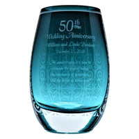 Glass Award Crescendo Vase with Personalized Inscription and Decorative Design - Peacock Blue