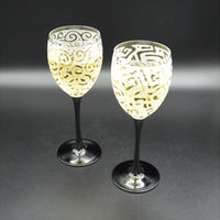 Black Stem Luminarc Domino Wine Glass