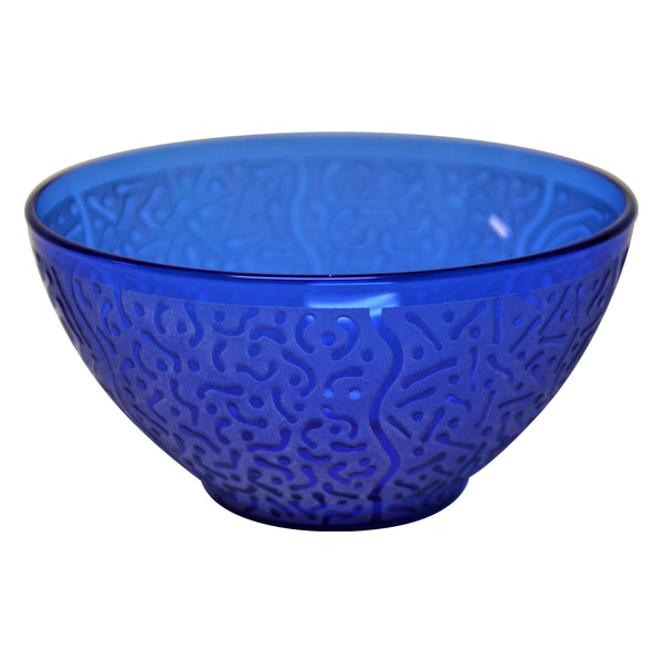 Cobalt Blue Glass Bowl with Etched Squiggle, Line and Dot Design