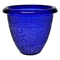 Glass Pot with Etched Southwest Sun Design