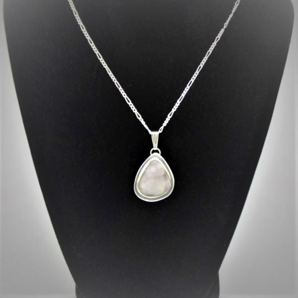 Drusy Quartz Sterling Silver Pendant with Sterling Silver Chain