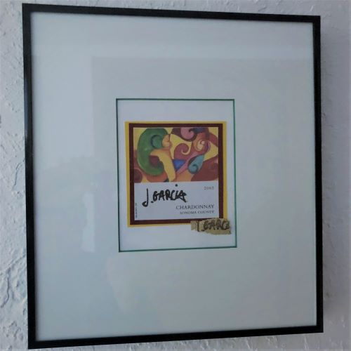 Framed Jerry Garcia Wine Label at It's A Blast Glass Gallery Tucson Arizona