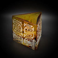 Gold Triangle Handblown Glass Candleholder with Maize Design - It's A Blast Glass Gallery-Tucson