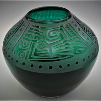 Green Glass Vase with Maya Design