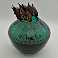 Green Glass Vase with etched Maya Design
