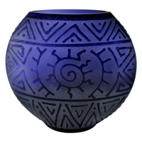 Medium Purple Flat Round Vase with Sun and SW Geo Design