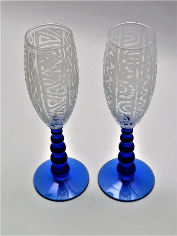 Clear Metropolis Blue Bubble Stem Flute Glass QV Tri U Design - Pair