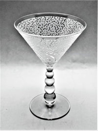 Clear Metropolis Bubble Stem Martini Glass - Pair with Before and After Design