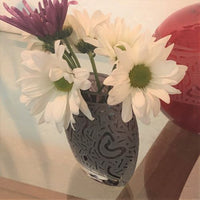 Etched Purple Flat Round Vase with Hearts Abound Design It's A Blast Glass Gallery Tucson Arizona