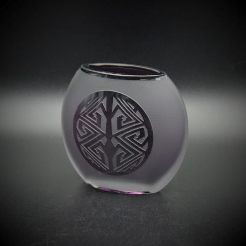 Etched Purple Flat Round Vase with Maize Design It's A Blast Glass Gallery Tucson Arizona