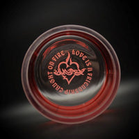 Red Flared Hand Blown Glass Vase with Sacred Hearts Design-It's A Blast Glass Gallery-Tucson