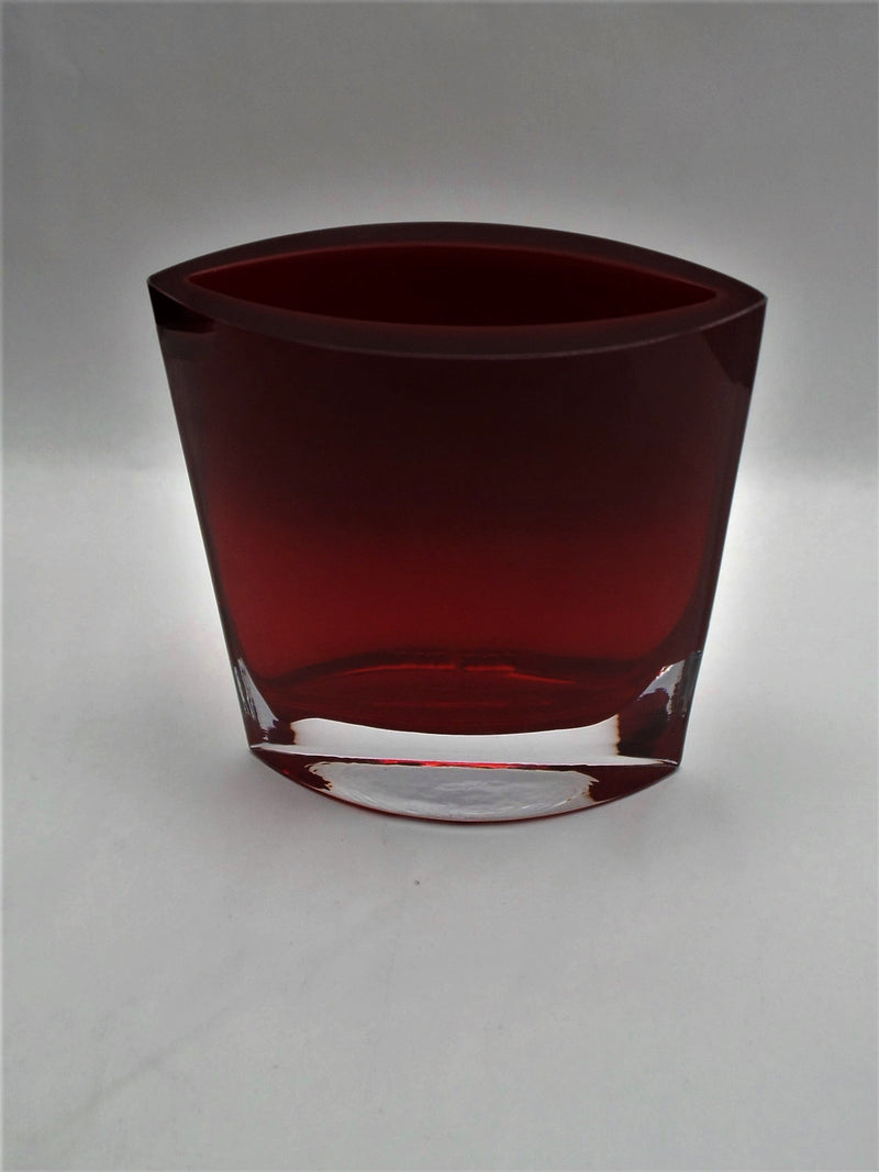 Elliptical Hand Blown Vase with Custom Logo and Inscription - Red