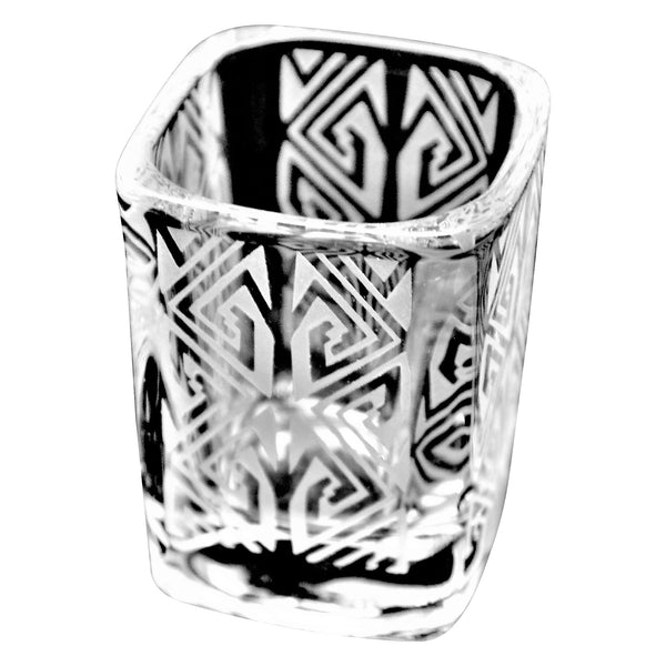 Square Shot Glass with Etched Maize Design