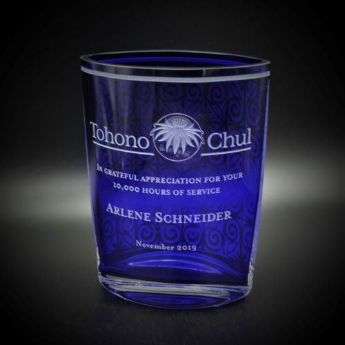 Elliptical Hand Blown Vase with Custom Logo and Inscription - Cobalt Blue