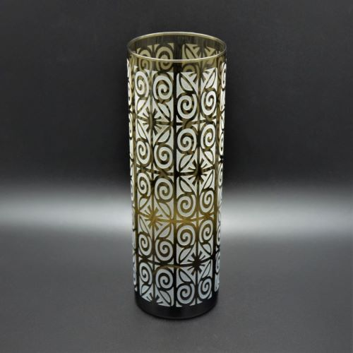 Topaz Cylinder Glass Vase with Frosted, Etched Wrought Iron Design - It's A Blast! Glass Gallery