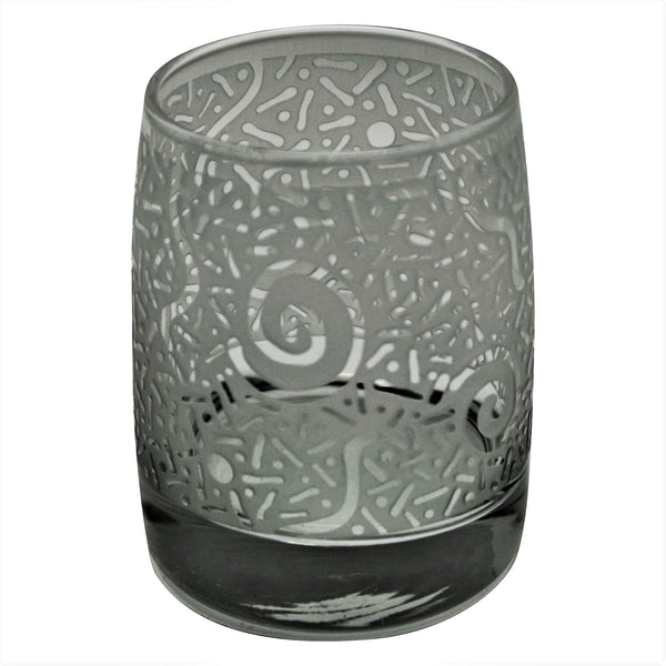 Clear Vibe Rocks Glass with Etched Circle Millennium Design