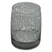 Clear Vibe Rocks Glass with Etched Square Millennium Design