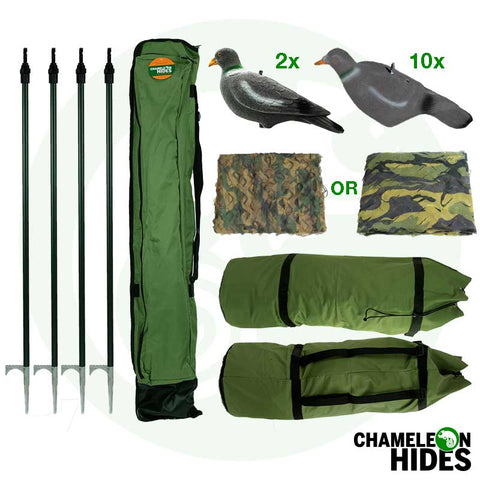Chameleon Pigeon Shooting Decoying: Kit Including Hide Net Poles Decoys Bag