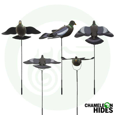 Chameleon Pigeon Shooting Decoying: Winged Flocked Pigeon Decoys With Bouncer Poles