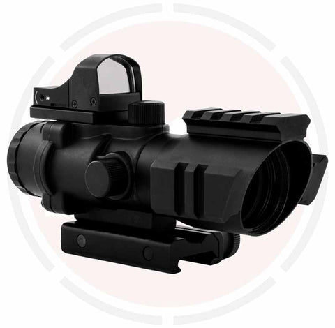 IYS 4x32 Prismatic scope with top mounted red dot sight suitable for 20mm weaver rail