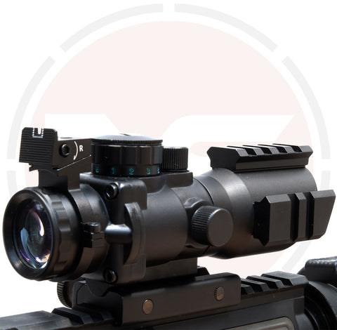 IYS 4x32 Prismatic rifle scope with illuminated reticle