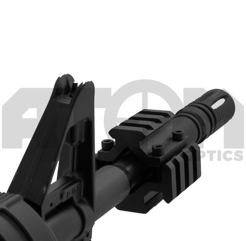 Atom Universal gun barrel mount with weaver rails for attaching accessories