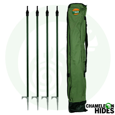 Chameleon Pigeon shooting hide poles. 4x solid spike decoy hide poles including carry bag