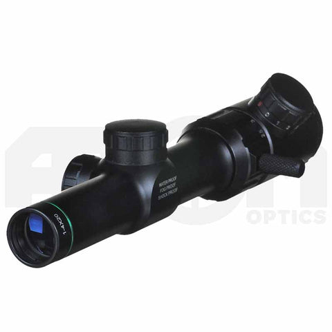 Atom 1-4x20 illuminated reticle rifle scope with mounts