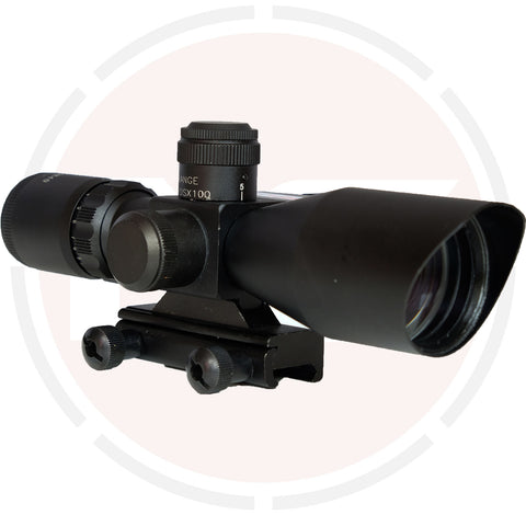 IYS 2.5-10x40 red and green illuminated reticle rifle scope with red laser